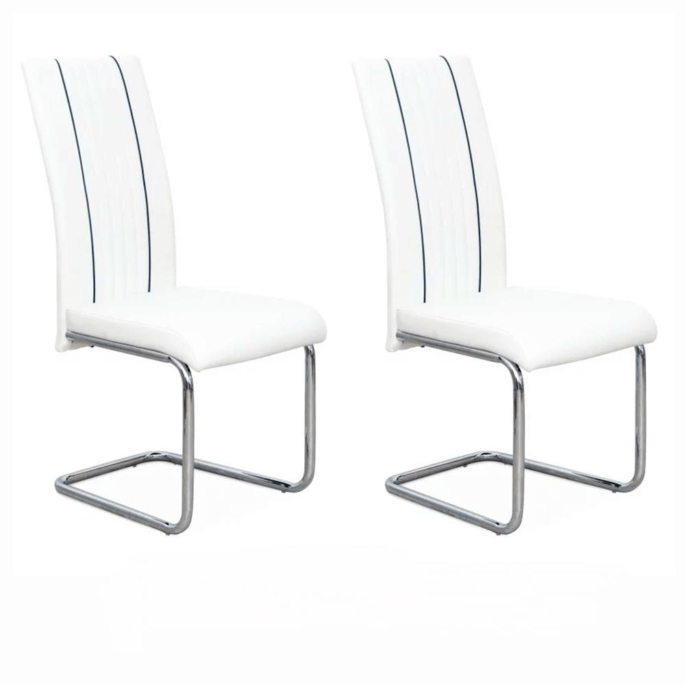 2 kusy, jedálenská stolička, ekokoža biela/čierna/chróm, LESANA