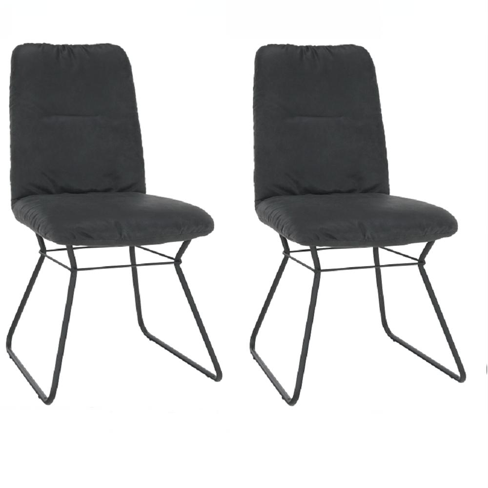 2 kusy, stolička, čierna látka s efektom brúsenej kože/čierny kov, ALMIRA