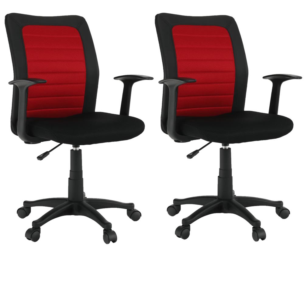 2 kusy, kancelárske kreslo, čierna/červená, BURGOS