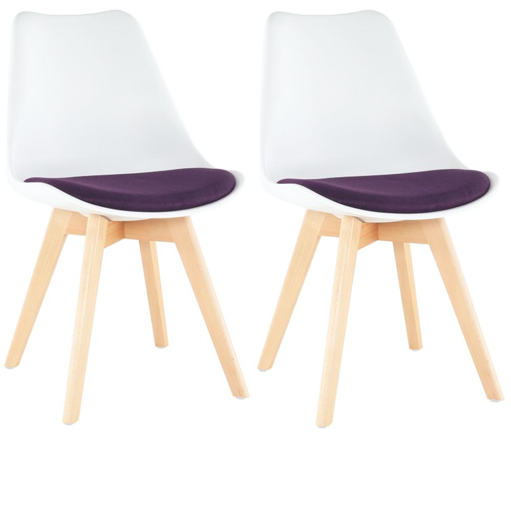 Set 2 buc, scaun, alb/violet, DAMARA