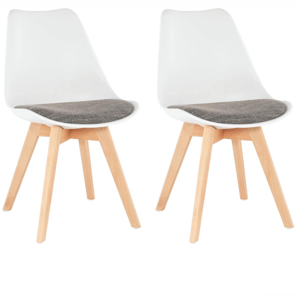 2 kusy, stolička, biela/verzo hnedá, DAMARA
