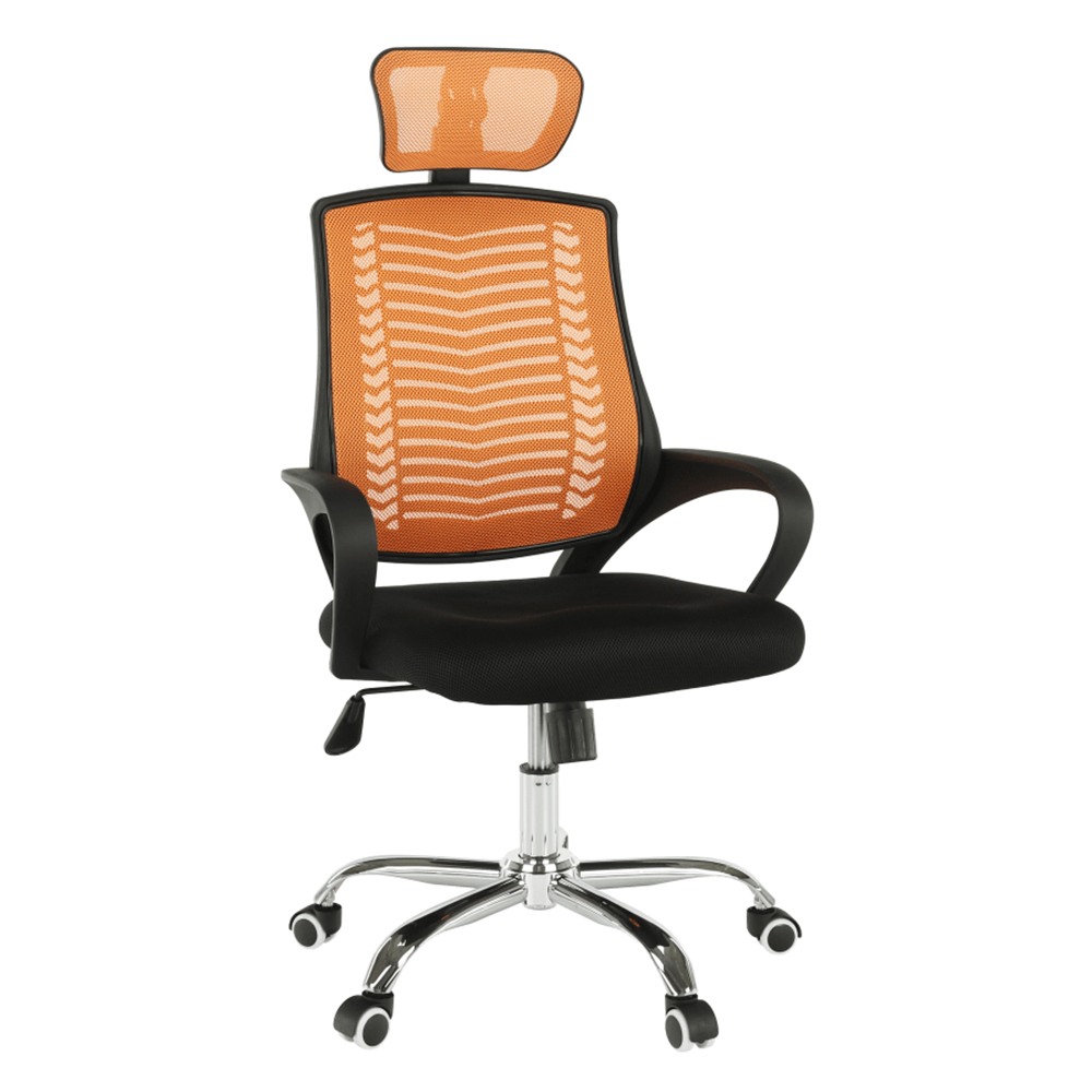 Kancelárske kreslo, oranžová/čierna/chróm, IMELA TYP 1