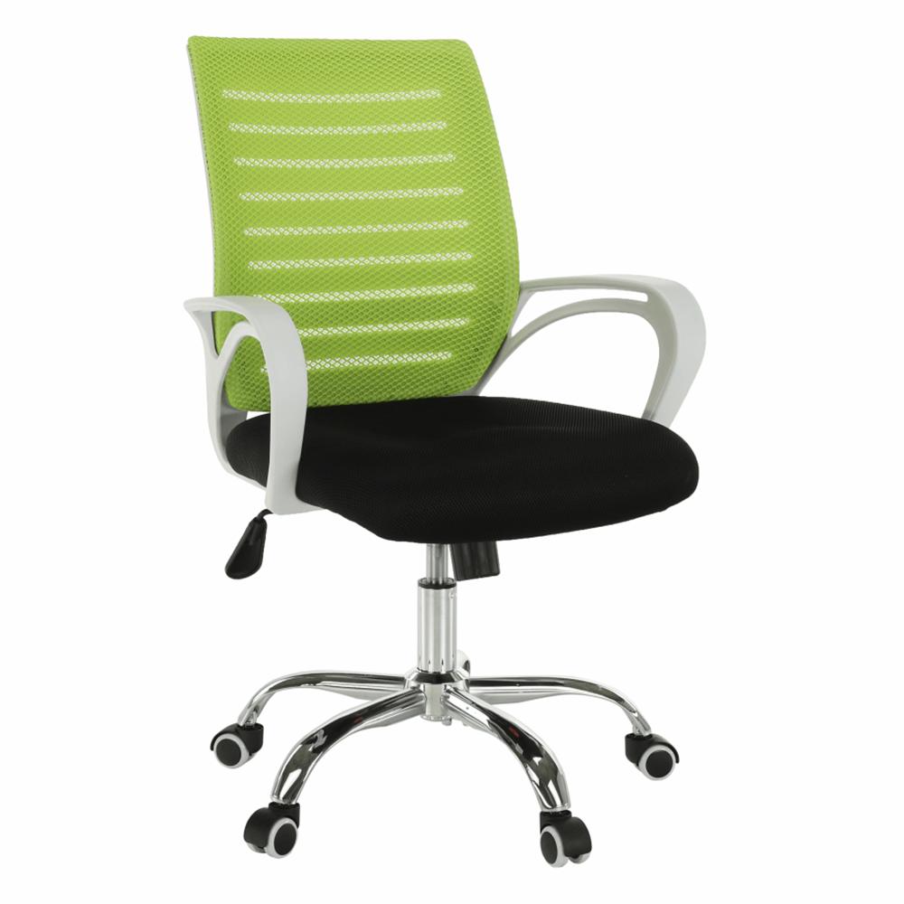 Fotoliu de birou, verde/negru/alb/crom, OZELA