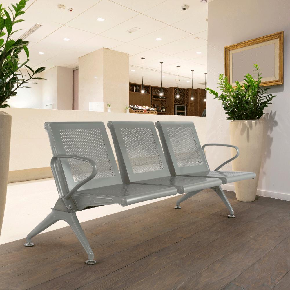3-místná lavice do čekárně, stříbrná, KULIA