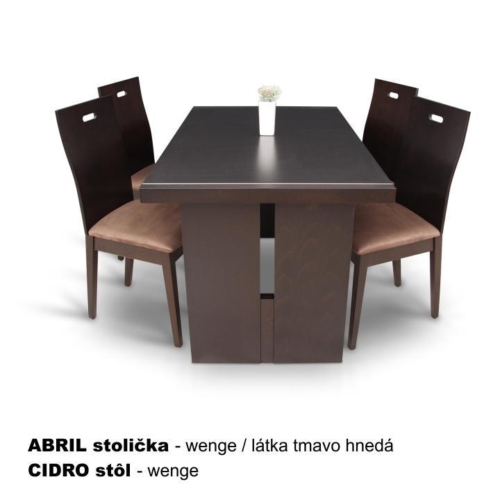 TEMPO KONDELA Drevená stolička, wenge/látka tmavo hnedá, ABRIL - Tempo nábytek