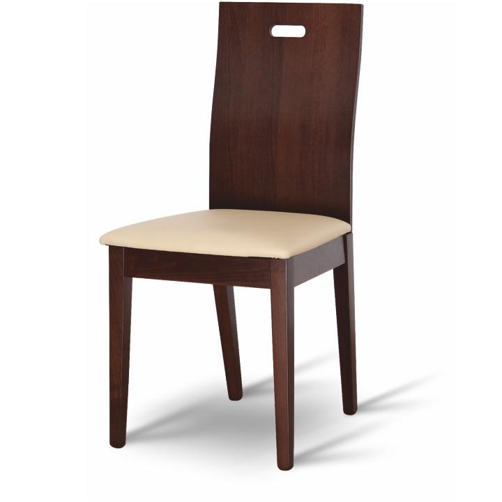 Étkező szék bükk tömörfából, dió/krémszínű ekobőr, ABRIL