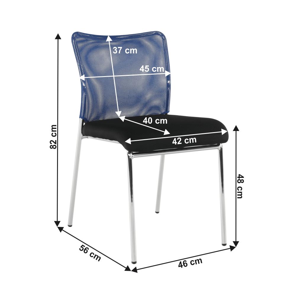 Zasedací židle, modrá/černá/chrom, ALTAN
