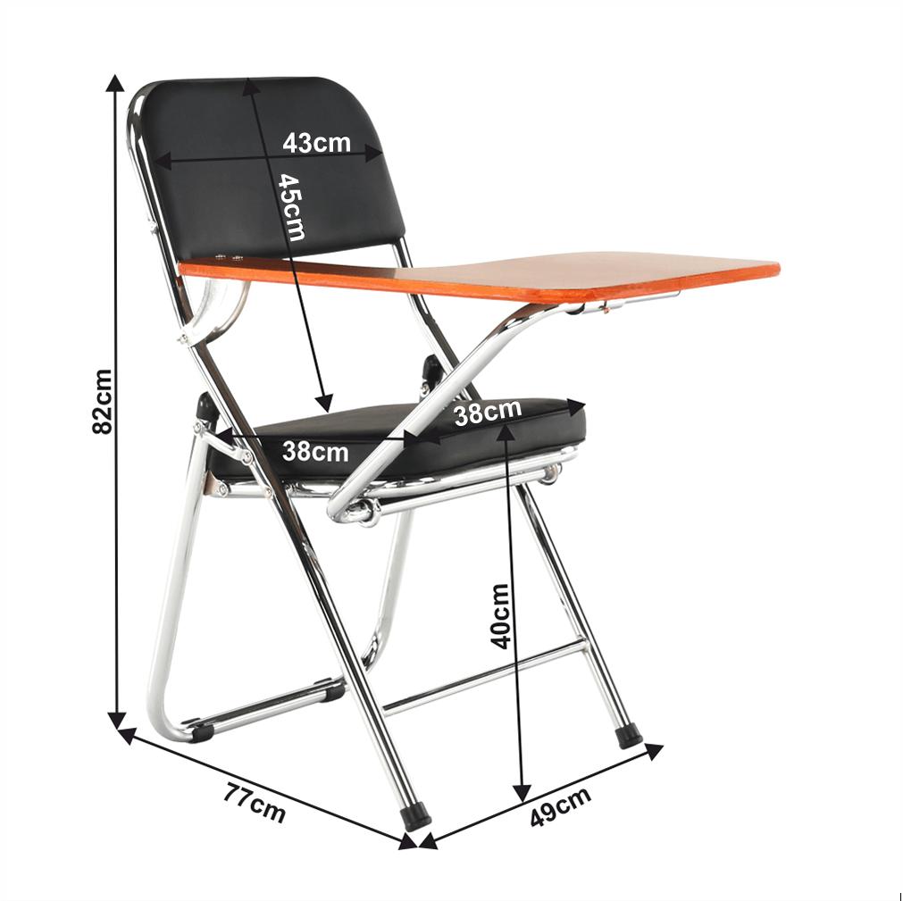 Židle s deskou na psaní, černá/přírodní, TEKER