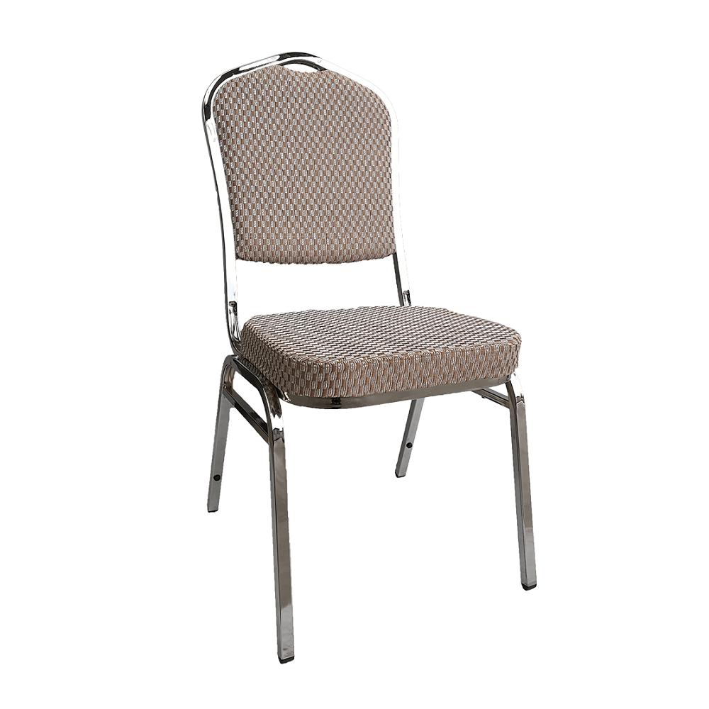 Stohovateľná stolička, béžová/vzor/chróm, ZINA 3 NEW