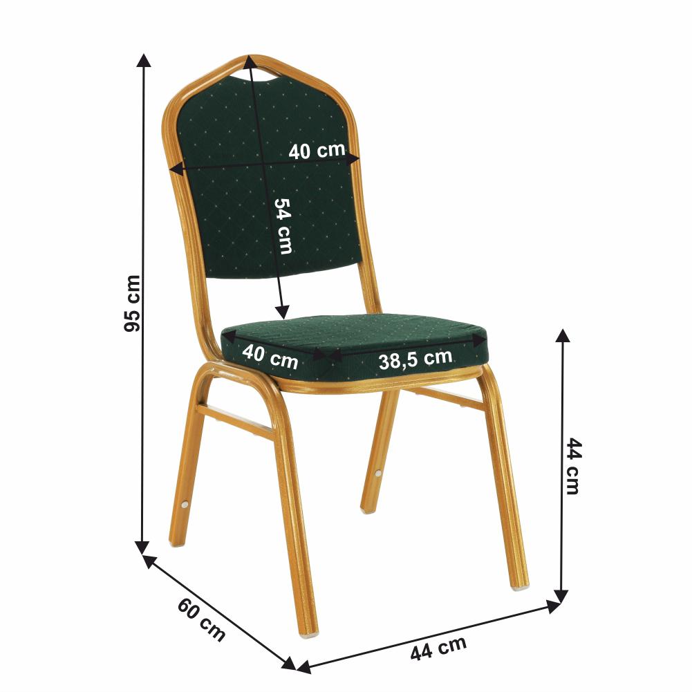 Stohovatelná židle, zelená/zlatý nátěr, ZINA 3 NEW