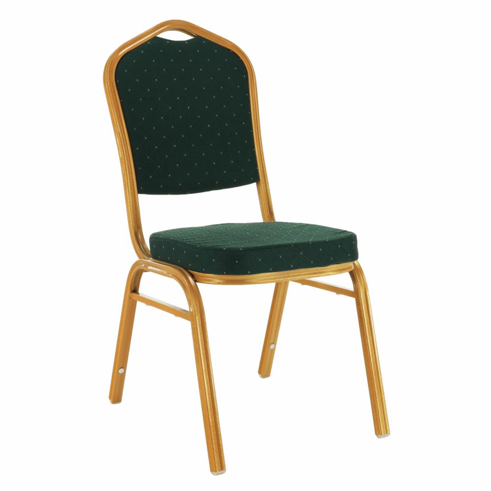 Stohovateľná stolička, zelená/zlatý náter, ZINA 3 NEW