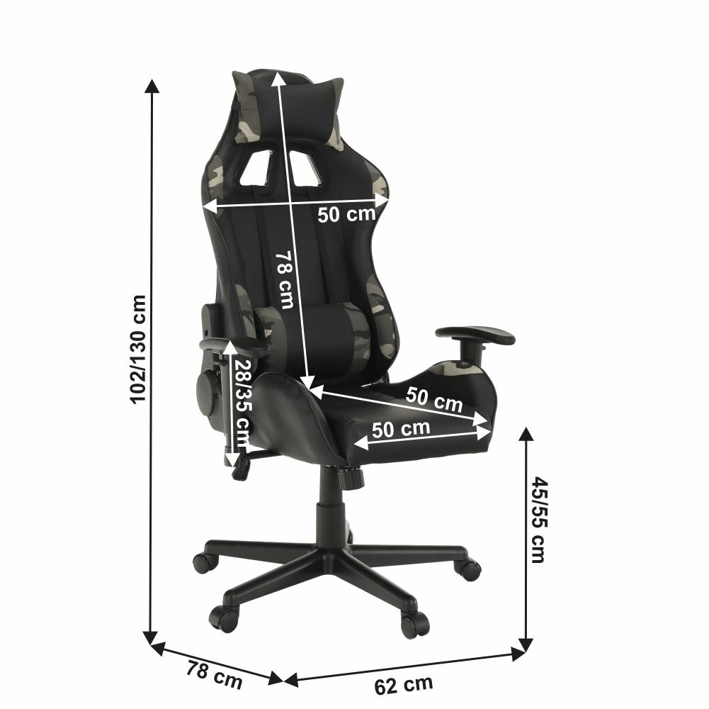 Kancelářské/herní křeslo, černá/Army vzor, Emre