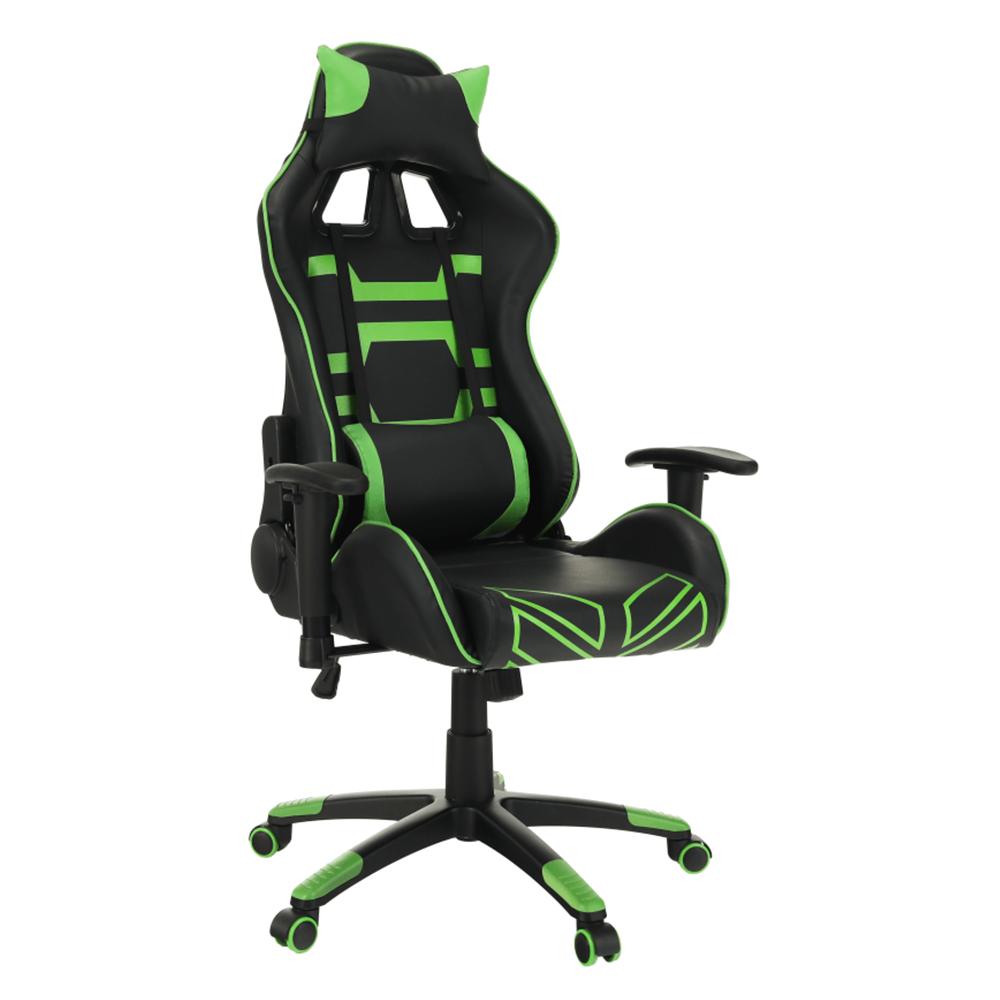 Kancelárske/herné kreslo, čierna/zelená, BILGI