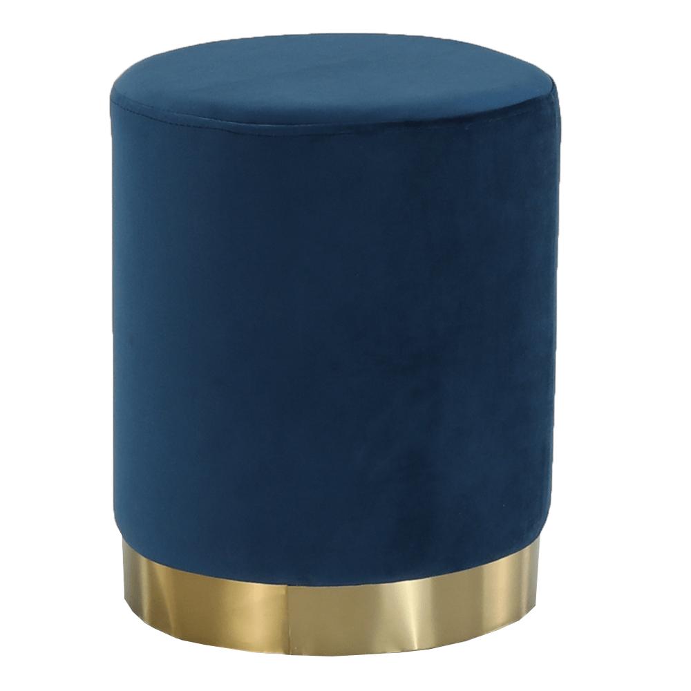 Puff, kék Velvet anyag/gold króm-arany, ALAZ