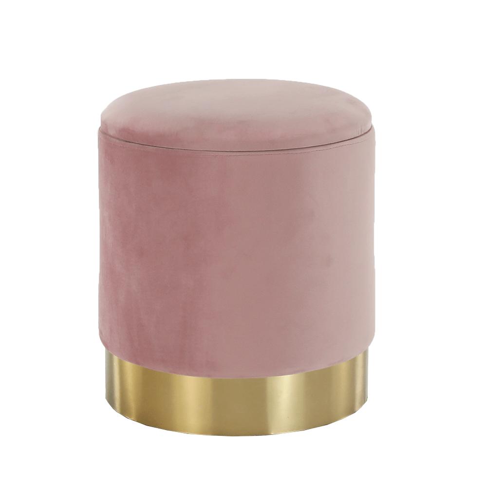 Taburet, růžová Velvet látka/gold chrom-zlatá, ANIZA