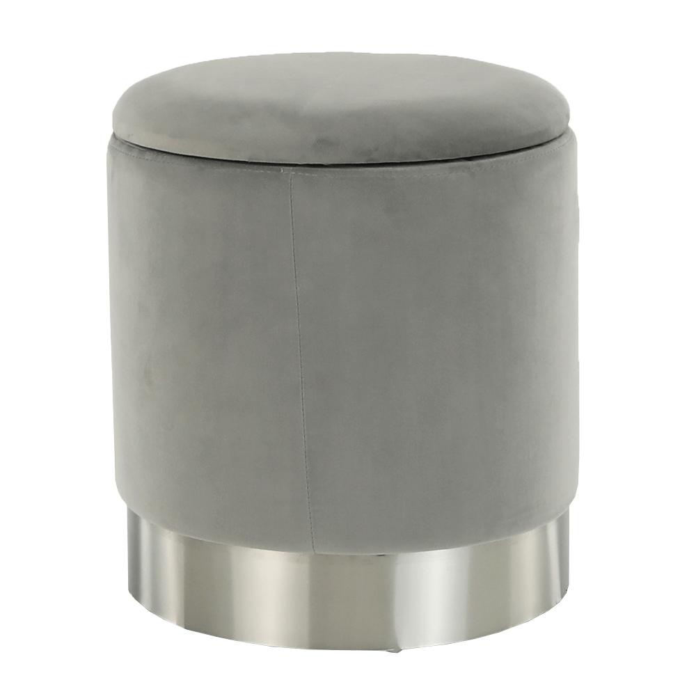 Puff, szürke Velvet anyag/ezüst króm, DARON