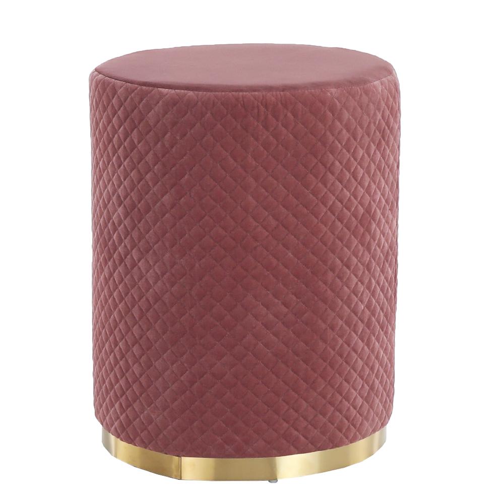 Taburet, ružová Velvet látka/zlatý náter, BARICA