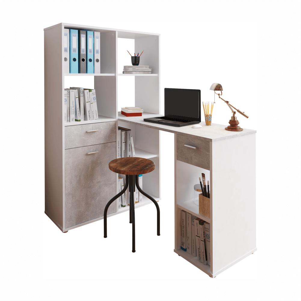 Rohový PC stůl s regálem, bílá / beton, MINESON, TEMPO KONDELA