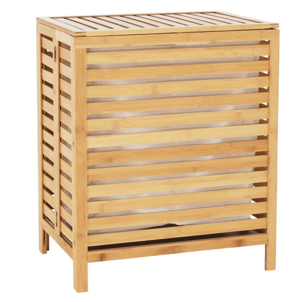 Szennyeskosár, natúr bambusz/fehér, MENORK