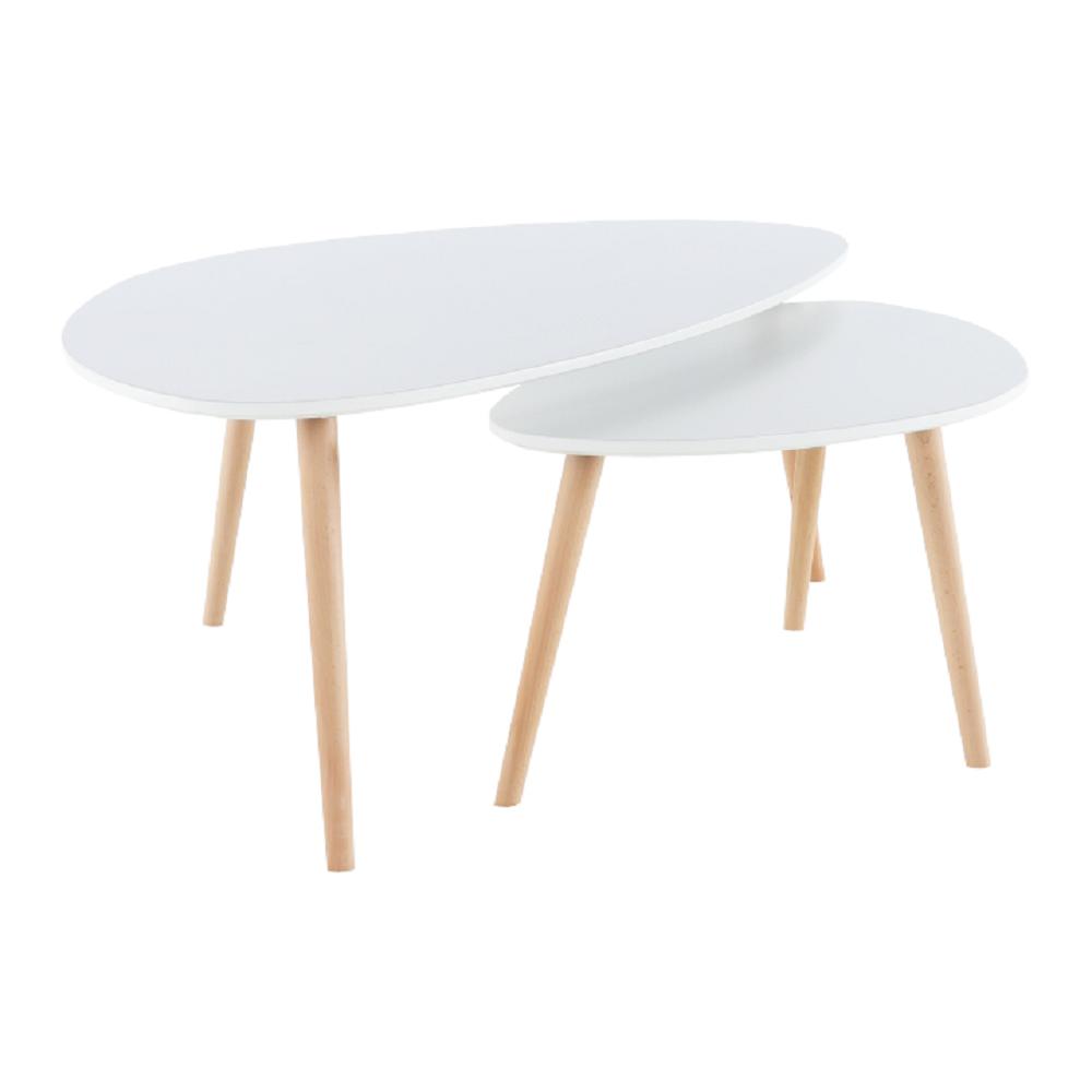 Két részes asztal szett, fehér/bükk, FOLKO NEW
