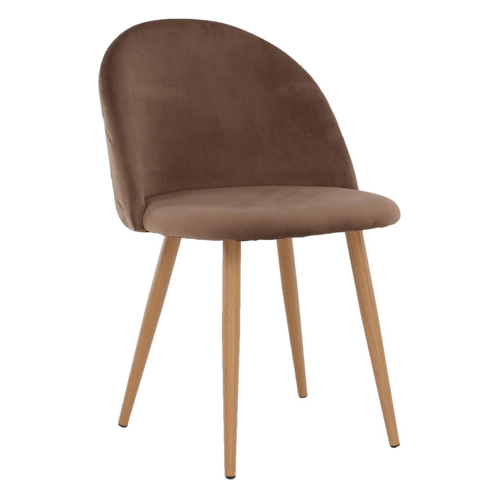 Jedálenská stolička, svetlohnedá Taupe Velvet látka, FLUFFY