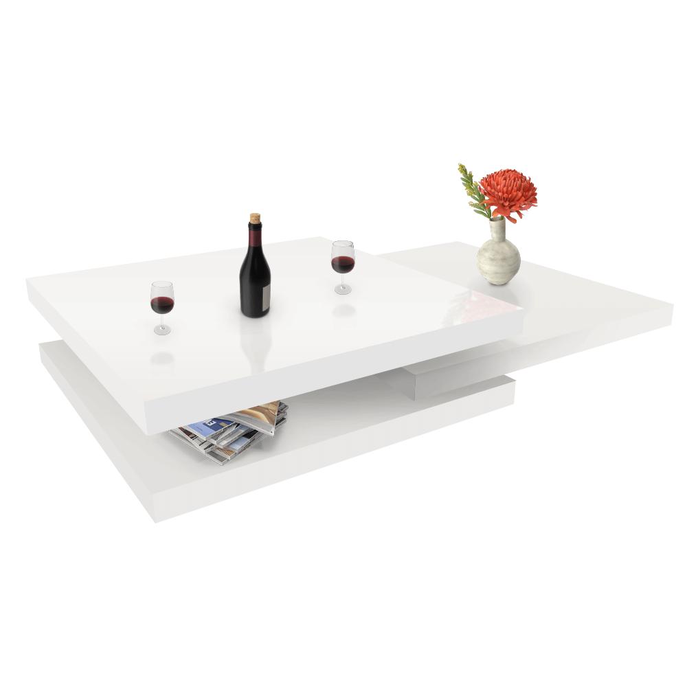 Otočný konferenční stolek, bílá vysoký lesk HG, SONIC, TEMPO KONDELA