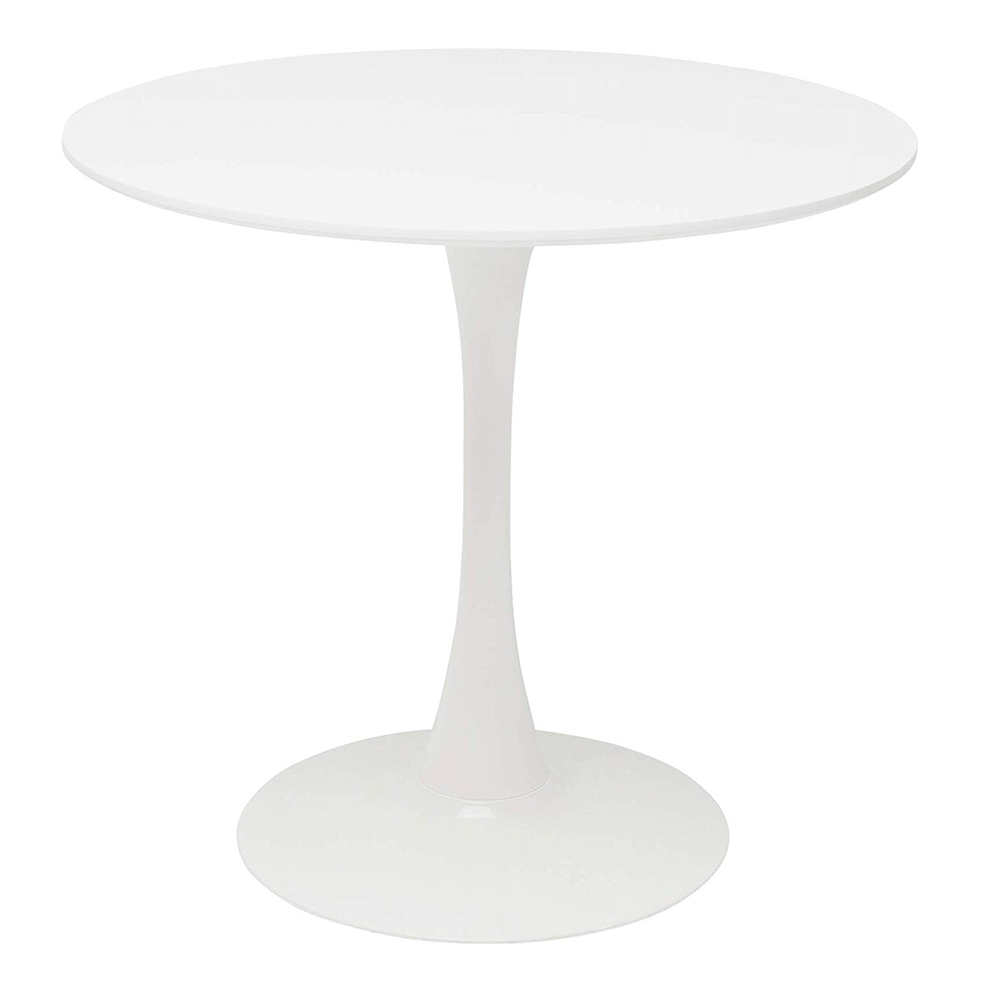 Masă dining, rundă, alb mat, REVENTON