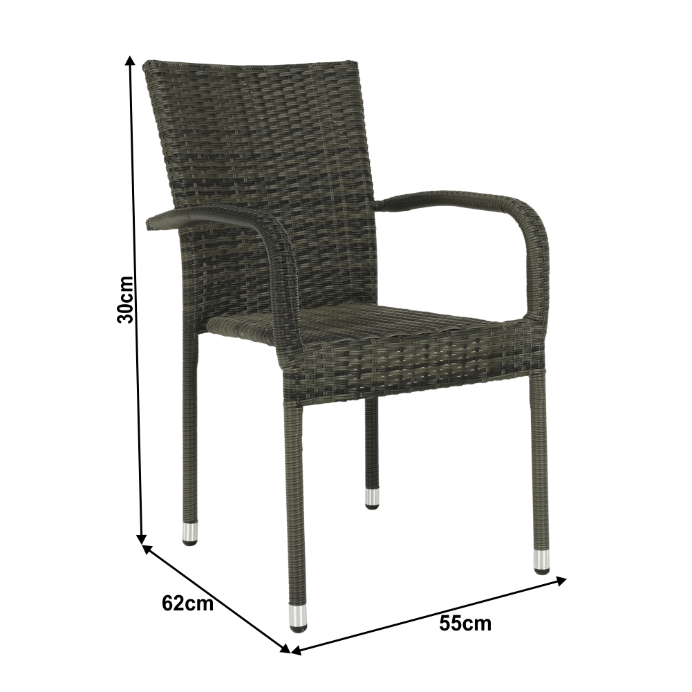 Zahradní stohovatelná židle, šedá, VIPANA