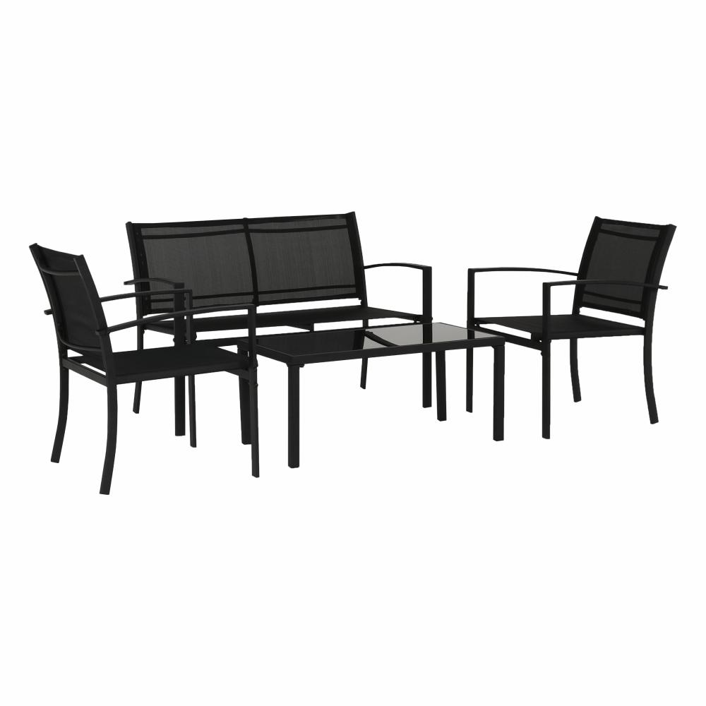 Záhradný 4-dielny ratanový set, čierna, DILAR