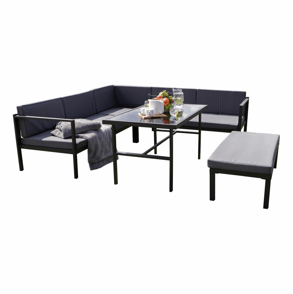 Záhradný 3-dielny set, sivá/čierna, PAMUK