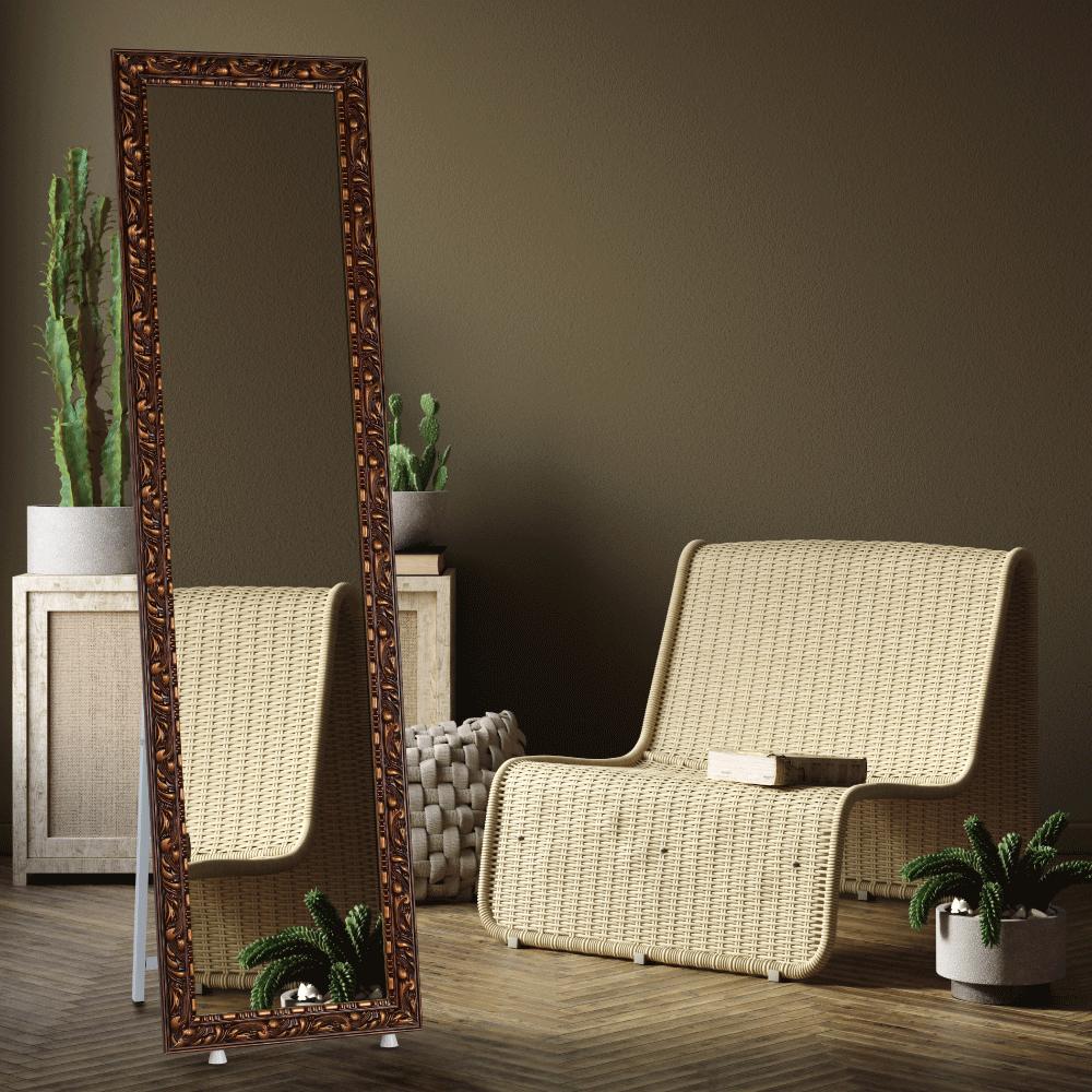 Designové zrcadlo, hnědá, PANTOS