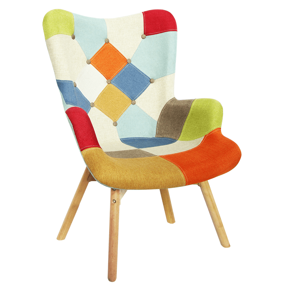 Dizájnos fotel, színes patchwork, KAPRUN