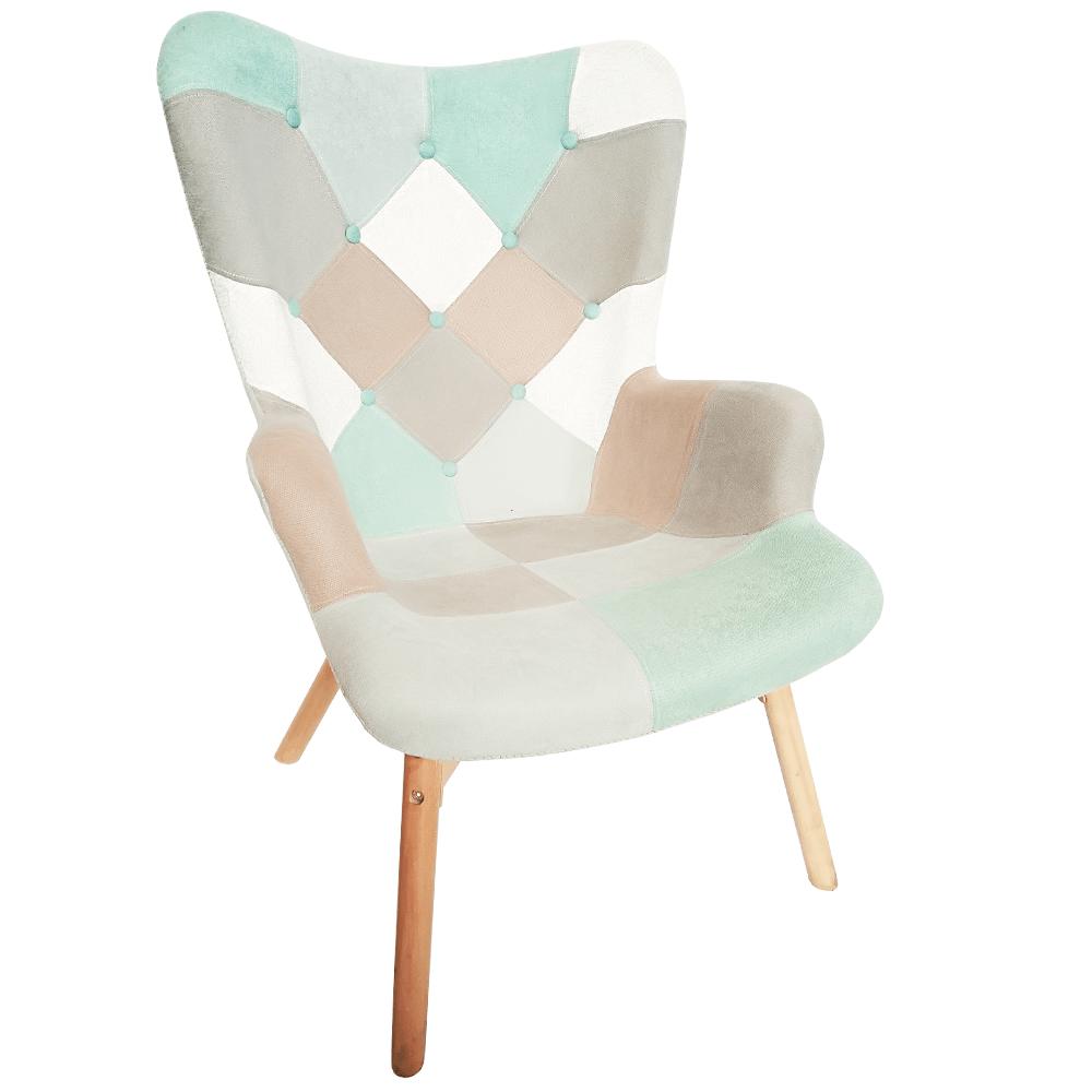 Dizájnos fotel, mentol/barna, KAPRUN