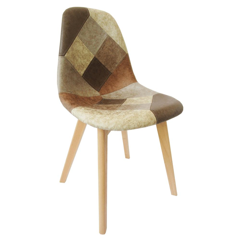 Jedálenská stolička, patchwork/buk, SALEVA