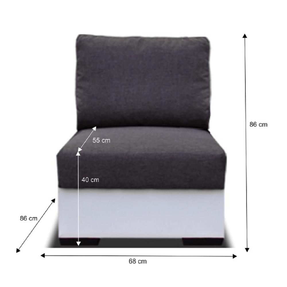 Colțar cu 1-loc, alb/gri, OREGON 1LOC-06
