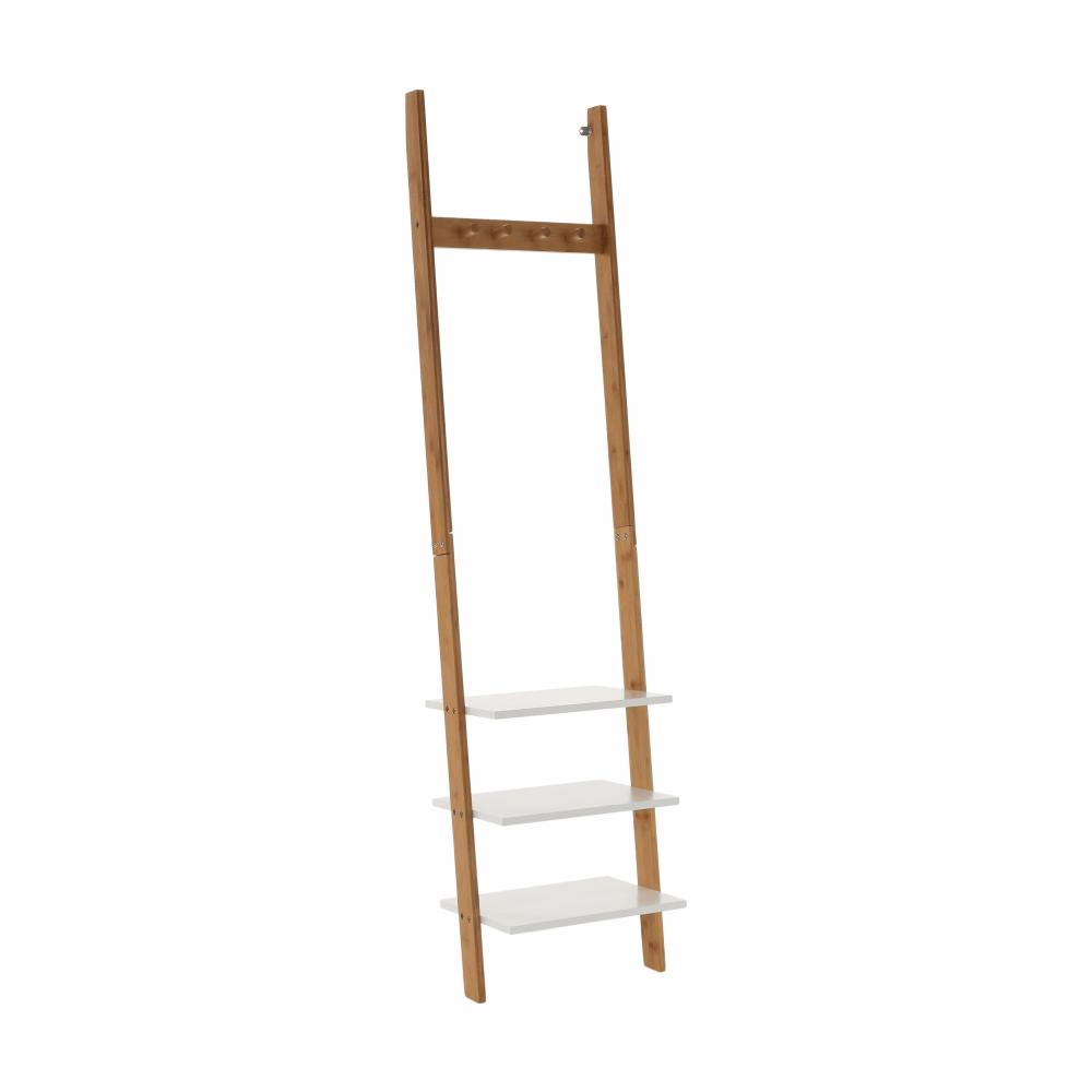 Vešiak s policami, biela/bambus, MARIKE TYP 1