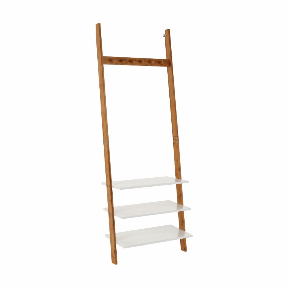 Cuier cu rafturi, alb/bambus, MARIKE TYP 2