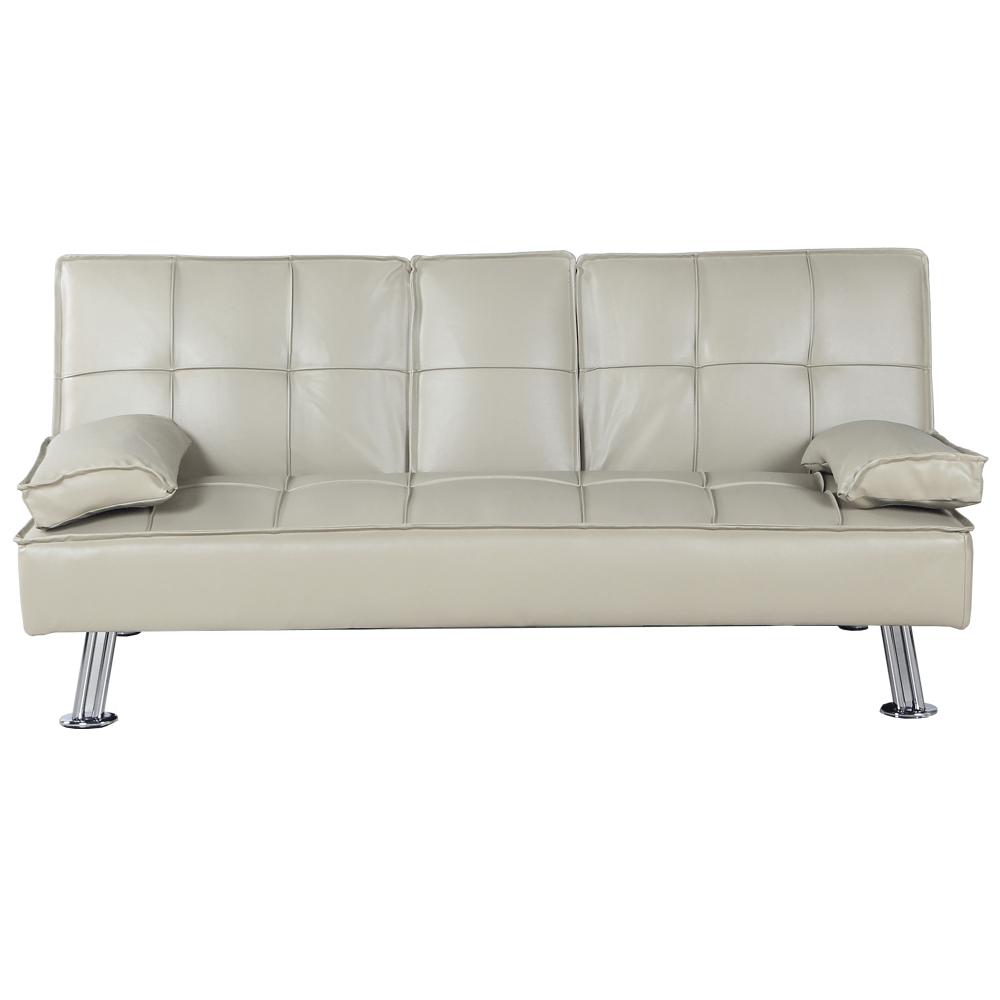 Kinyitható kanapé, bézs textilbőr, GOLDIA NEW