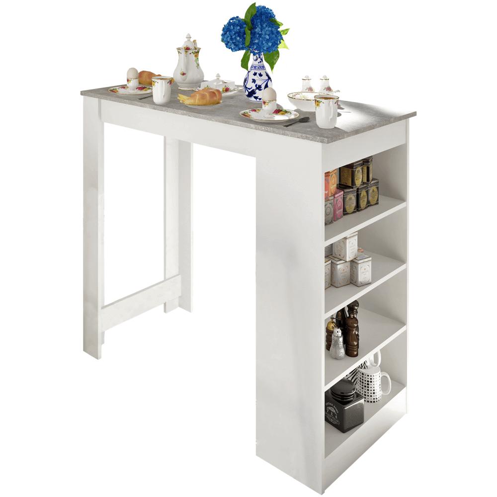Barový stůl, bílá / beton, Austen, TEMPO KONDELA