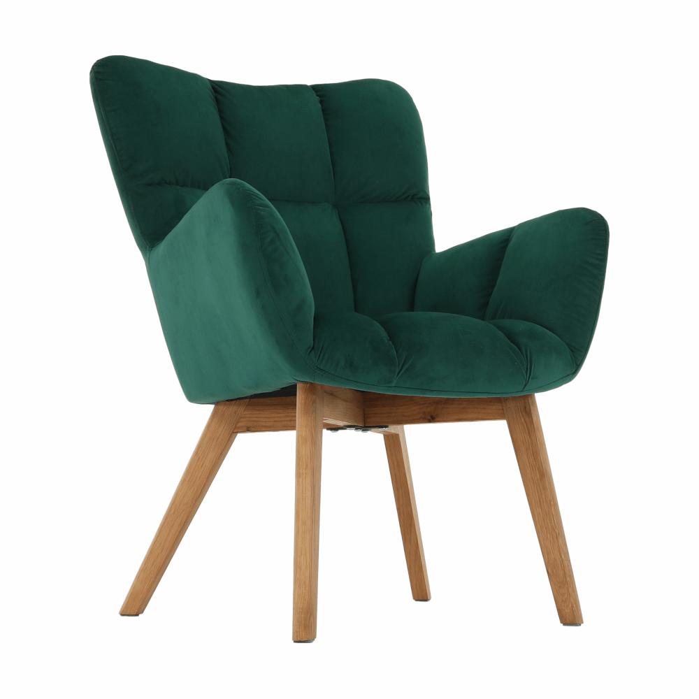 Designové křeslo, smaragdová/dub, FONDAR