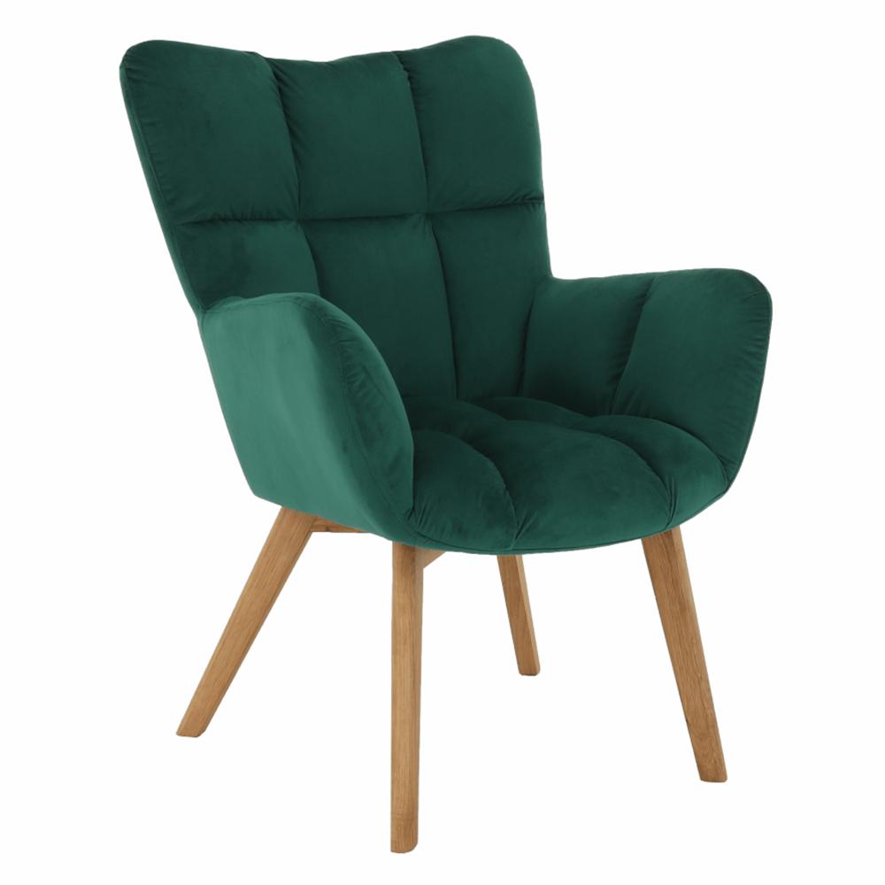 Dizájnos fotel, smaragd Velvet anyag/tölgy, FONDAR