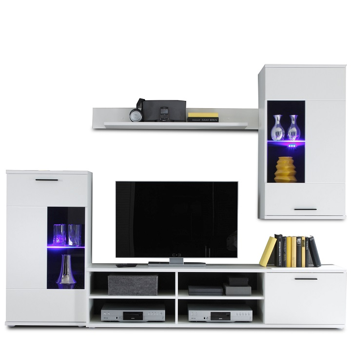 Obývacia stena, biela, FRONTAL 1