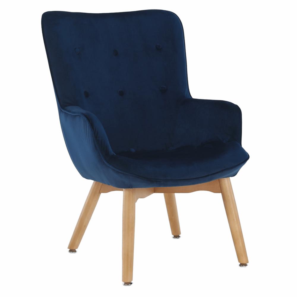 Dizájnos fotel, kék Velvet anyag, FODIL