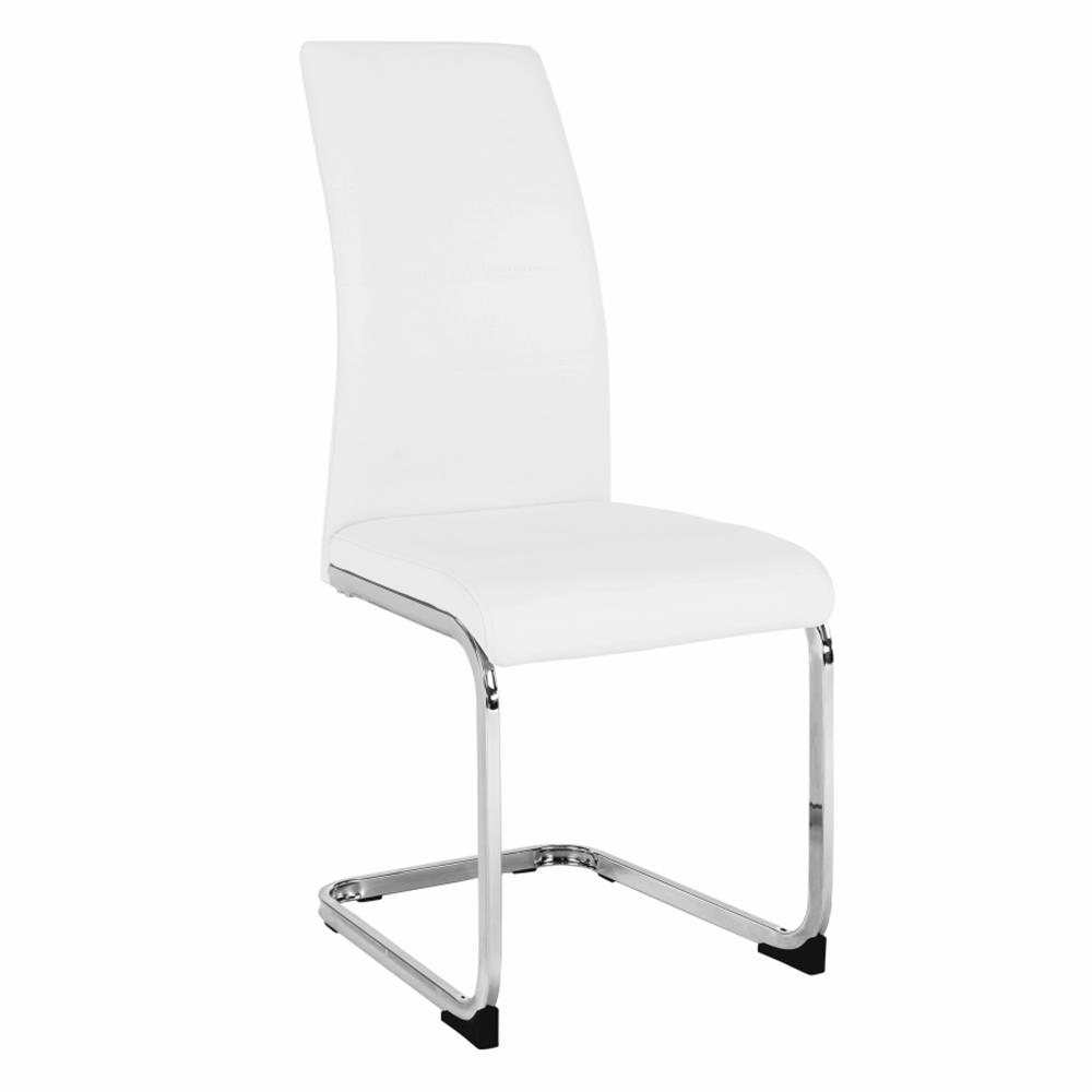 Jedálenská stolička, biela/chróm, VATENA