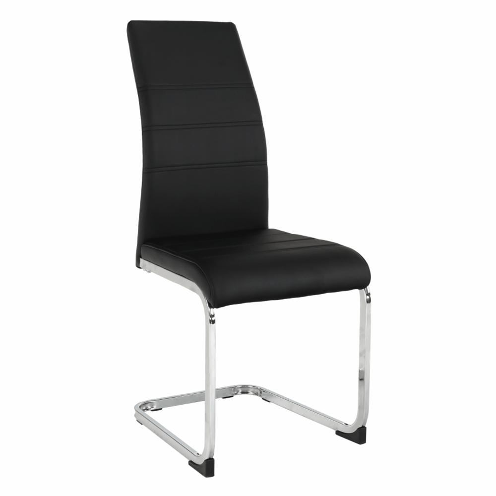 Jedálenská stolička, čierna/chróm, VATENA