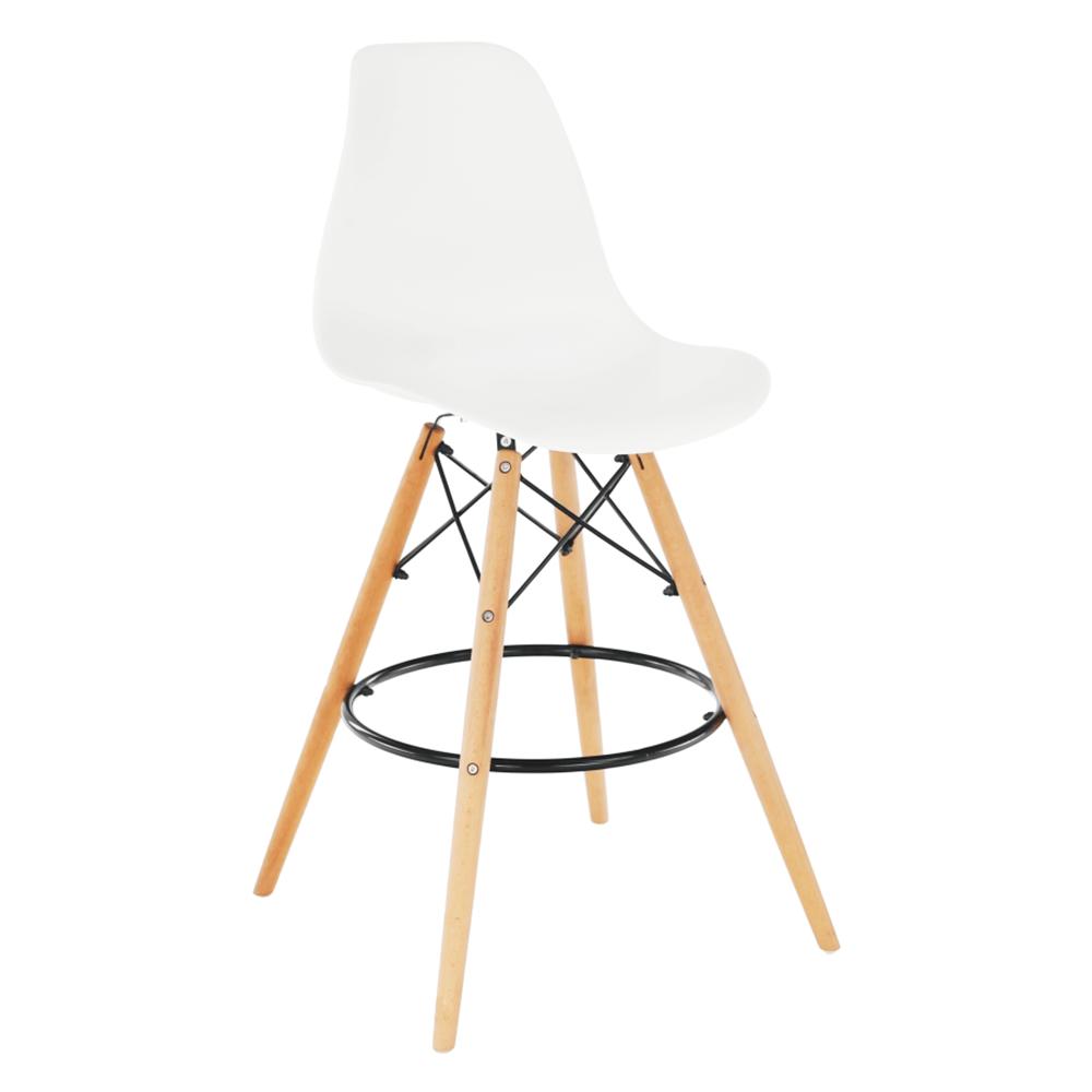 Barová stolička, biela/buk, CARBRY 2 NEW