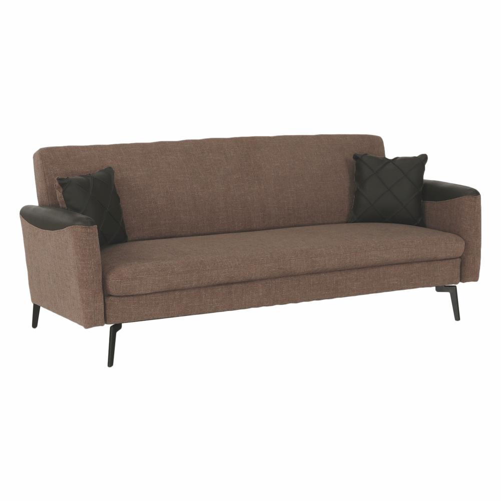 Canapea extensibilă, maro/verde închis/negru, DETA