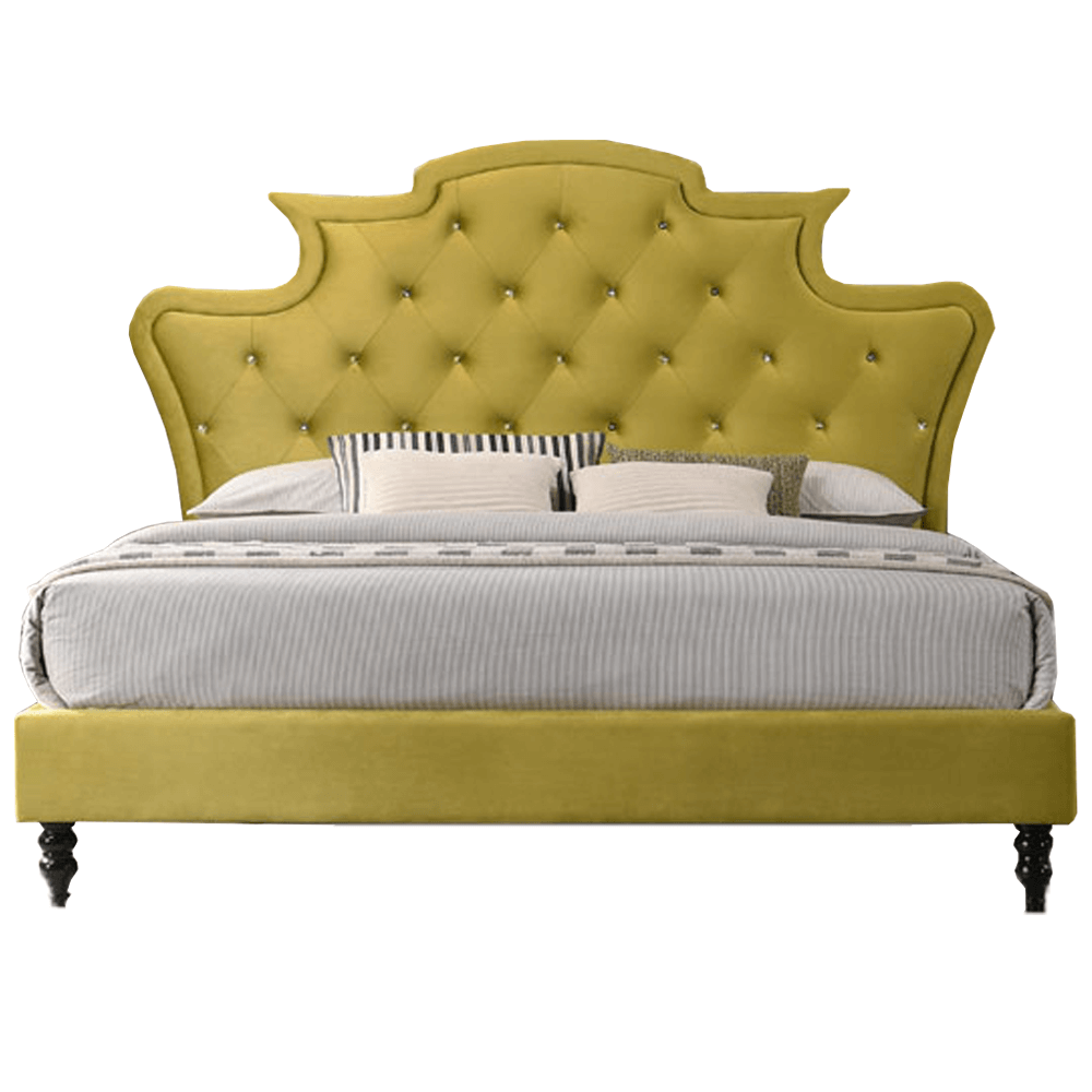Luxusná posteľ, zlatá Velvet látka, 180x200, REINA