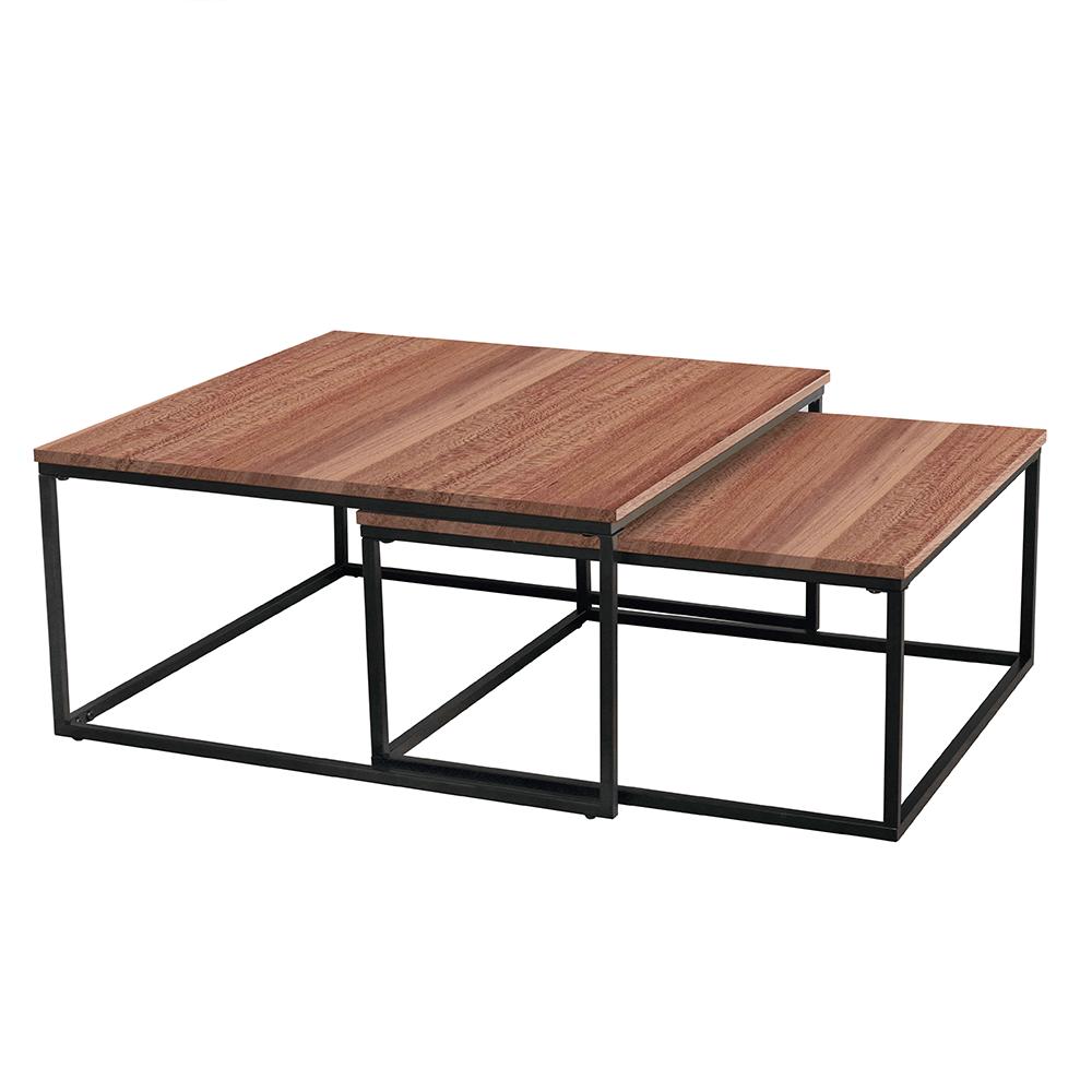 Konferenčné stolíky, set 2 ks, orech/čierna, KASTLER TYP 1