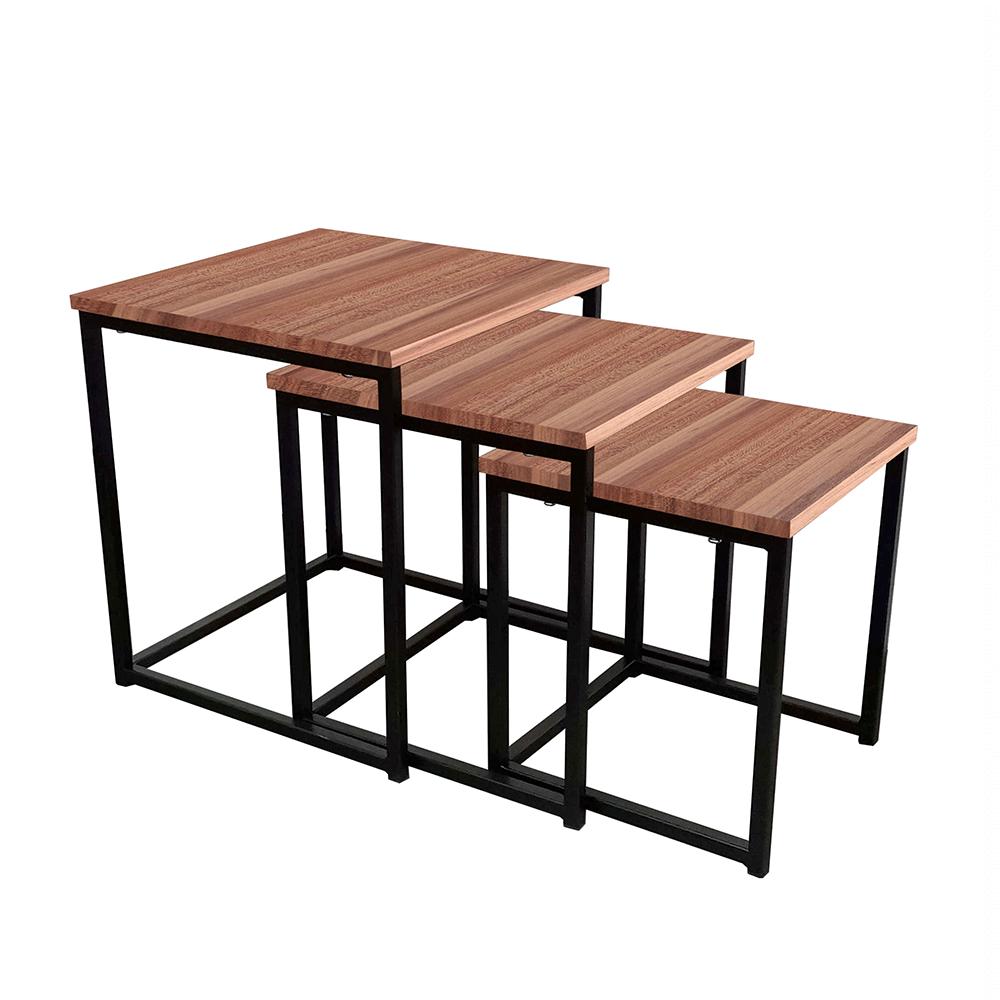 Set 3 konferenčných stolíkov, orech/čierna, KASTLER TYP 3